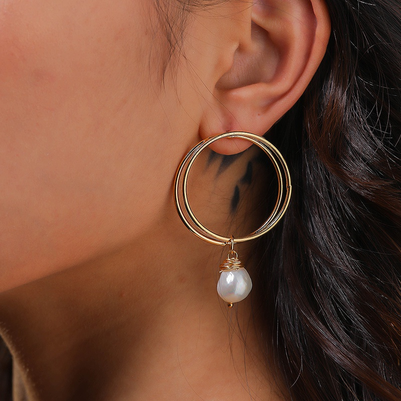 simple style exaggerated natural freshwater bread pearl earrings NHAN342262