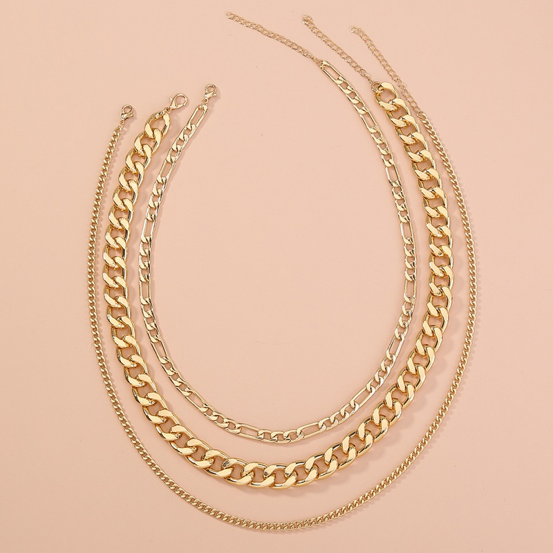 punk multilayer thick metal chain necklace NHAN342263