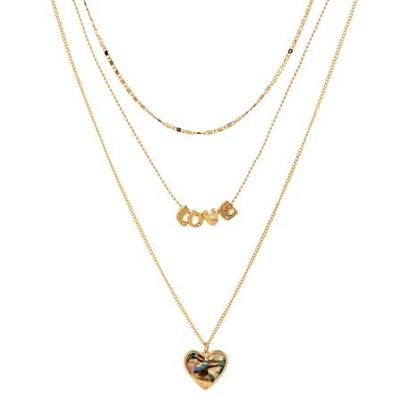 Mode Brief Herz natürliche Abalone Muschel Anhänger mehrschichtige Metallkette NHAN342274's discount tags