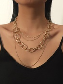 Fashion thick chain multilayer alloy necklace wholesale NHBD342282