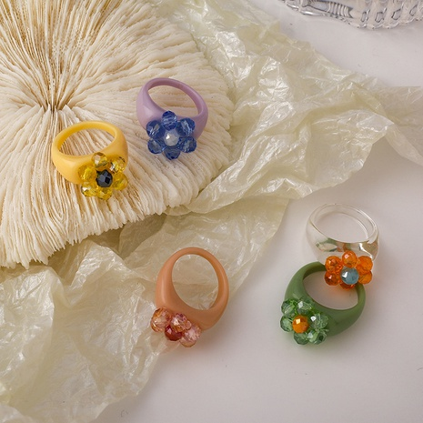 Koreanischer mehrfarbiger Kristallblumenacrylring NHMS342316's discount tags