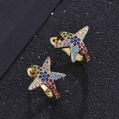 Pendientes de estrella de mar de circonio de color microincrustado chapado en oro de moda NHXIN342338's discount tags