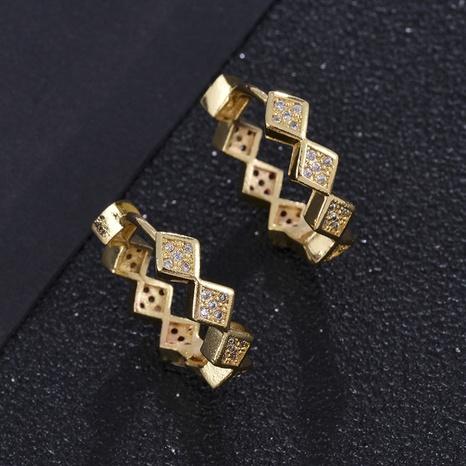 Hebilla de oreja de circonita con micro incrustaciones de oro real chapado en cobre de moda NHXIN342352's discount tags