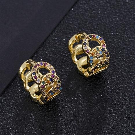 aretes de aro trenzados de circonitas de color con micro incrustaciones de moda NHXIN342353's discount tags