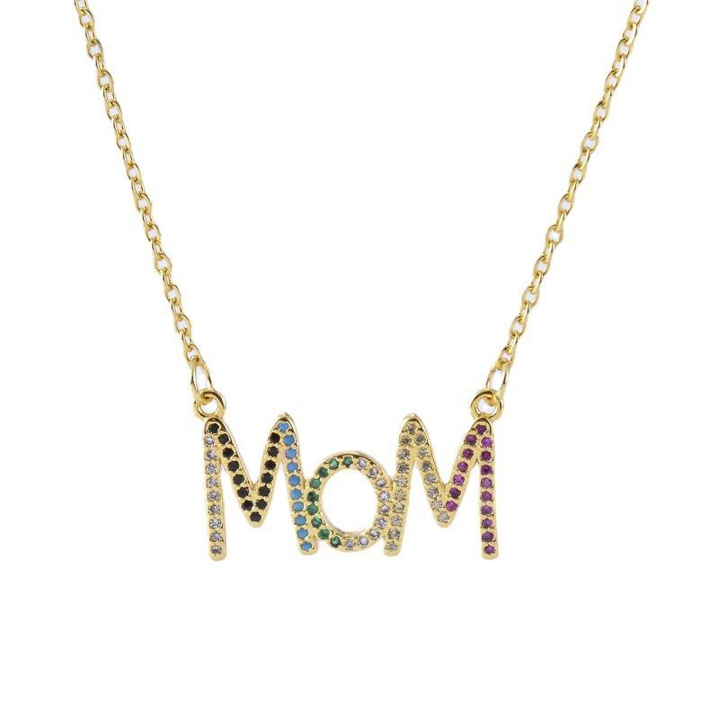 Fashion letter MOM copper inlaid zircon necklace wholesale NHXIN342361
