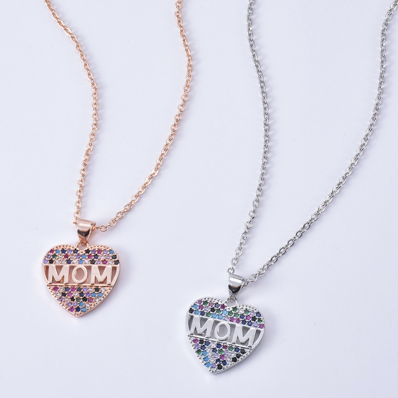 Fashion heartshape letter MOM copper inlaid zircon necklace wholesale NHXIN342362