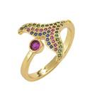 fashion microinlaid zircon fishtail open ring  NHXIN342367