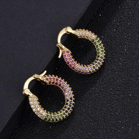 Al por mayor pendientes geométricos de oro real bañados en cobre de moda. NHXIN342372's discount tags