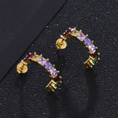 Pendientes de circonio de color de flecha de flor de estrella en forma de C de moda NHXIN342373's discount tags
