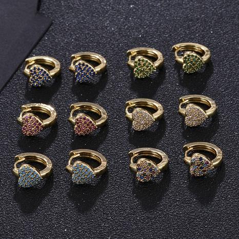 Pendientes de circonita de color diamante completo en forma de corazón de moda NHXIN342376's discount tags