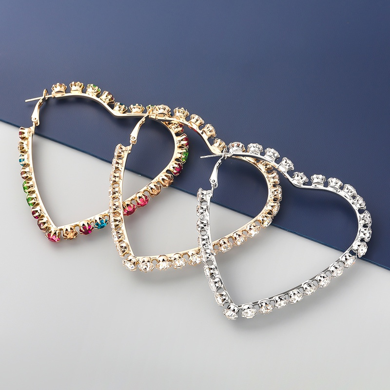 fashion alloy diamondstudded rhinestone heartshaped earrings NHJE342402