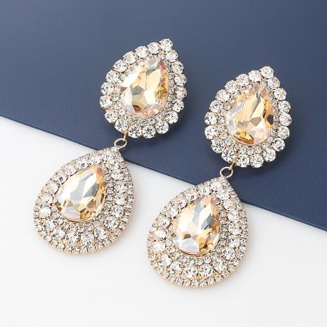 Pendientes de diamantes de imitación de aleación en forma de gota multicapa de moda NHJE342406's discount tags