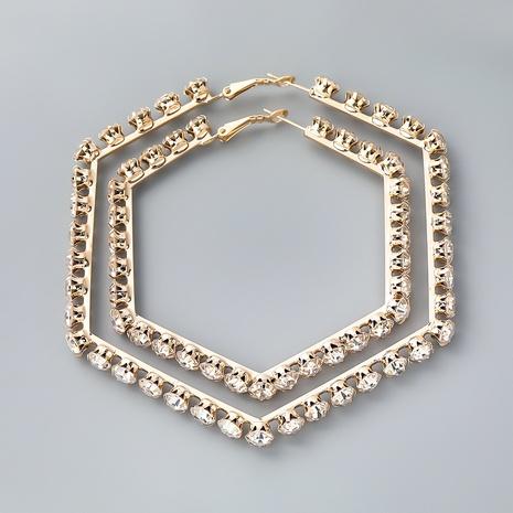 pendientes hexagonales de aleación de moda con diamantes NHJE342409's discount tags