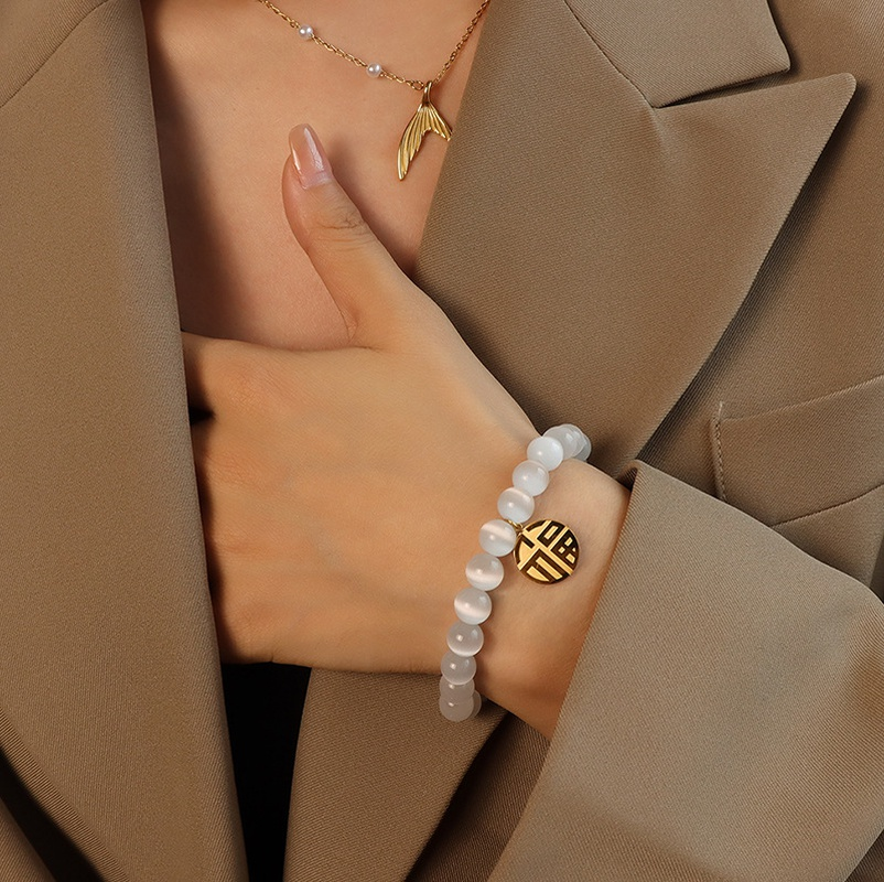 Fashion geometric round opal titanium steel bracelet NHOK342421