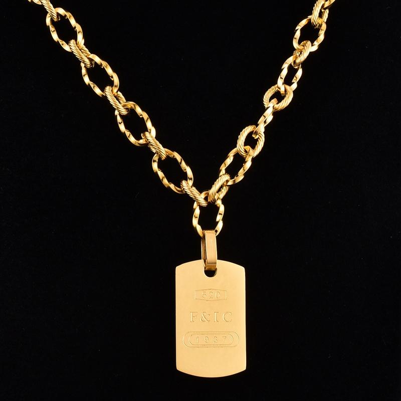 Fashion thick chain rectangular titanium steel necklace wholesale NHAB342445