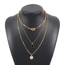 fashion mix and match geometric multilayer pendant necklace NHMD342475