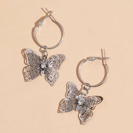 Mode Schmetterling hohle Diamantlegierung Ohrringe Großhandel NHPV342517's discount tags