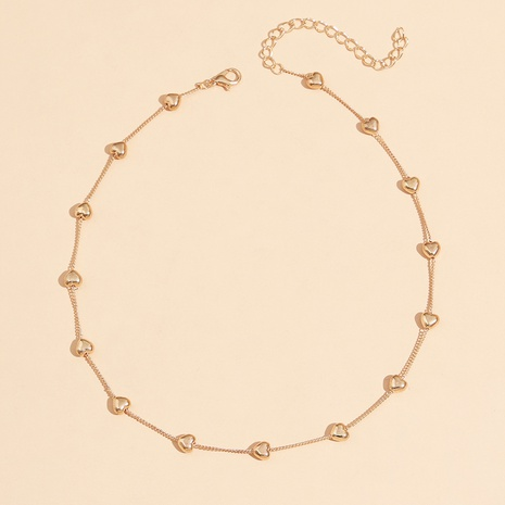 Simple temperament glossy love clavicle chain necklace gold NHPV342521's discount tags