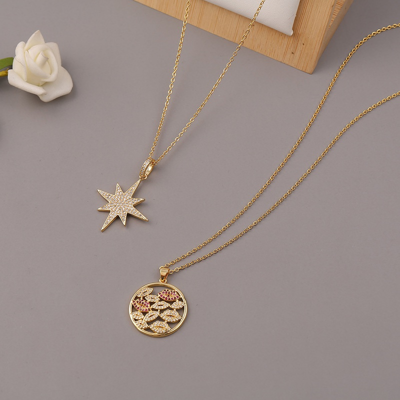 fashion copper microinlaid zircon lips star pendant necklace NHBU342560