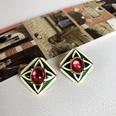 NHOM1589540-Square-drip-glazed-ruby-silver-pin-earrings-2CM