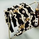 Korean new fold pearl widebrimmed diamondstudded bow headband NHLN342591