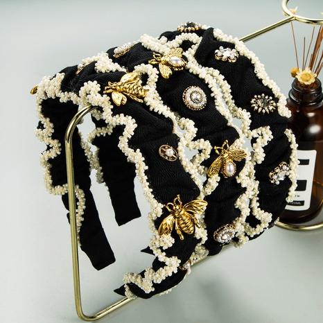 Diadema de lazo con tachuelas de diamantes de ala ancha con perlas plegadas de Corea NHLN342591's discount tags