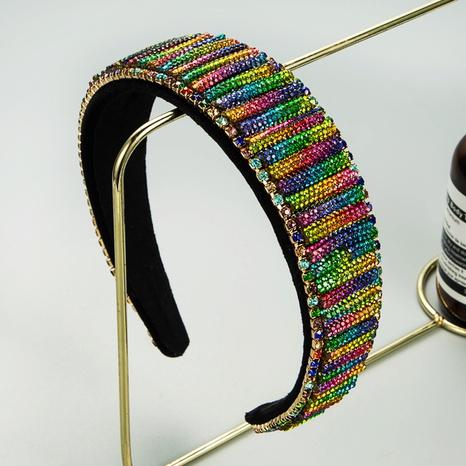 Diadema de diamantes de imitación de borde ancho de color barroco de Corea NHLN342585's discount tags
