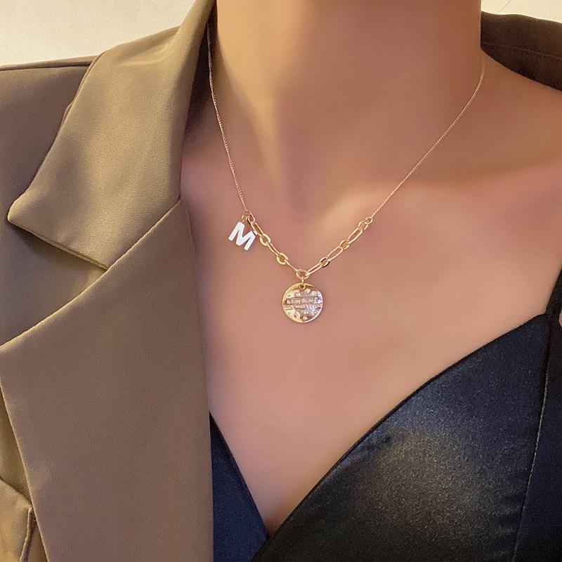Korean letter disc alloy necklace wholesale NHBY342599
