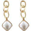 Fashion geometric pearl alloy earrings wholesale NHBY342626