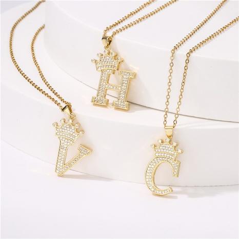 Mode Krone Englisch Brief Kupfer eingelegt Zirkon Halskette Großhandel NHFMO342645's discount tags
