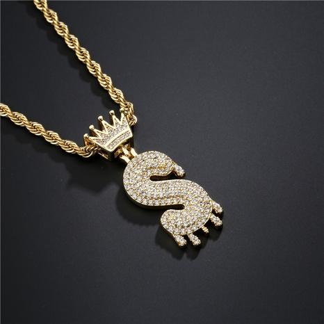 Mode Krone Wassertropfen Brief Kupfer eingelegte Zirkon Halskette Großhandel NHFMO342657's discount tags
