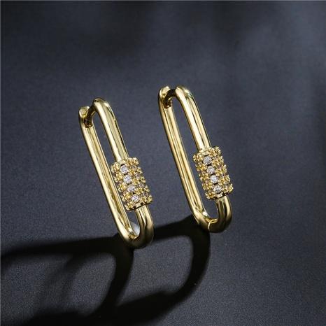 Pendientes geométricos de oro real chapados en cobre de estilo simple de nueva moda NHFMO342664's discount tags