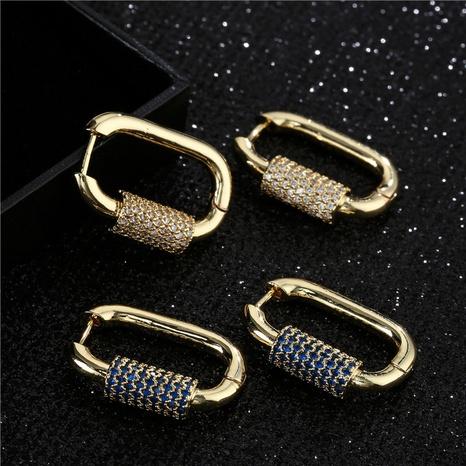 Pendientes con micro incrustaciones de cobre con forma geométrica de moda simple NHFMO342687's discount tags
