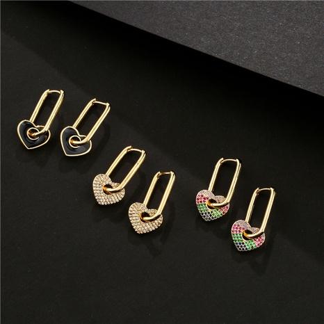 Pendientes de corazón con micro incrustaciones de cobre de estilo nuevo a la moda NHFMO342707's discount tags