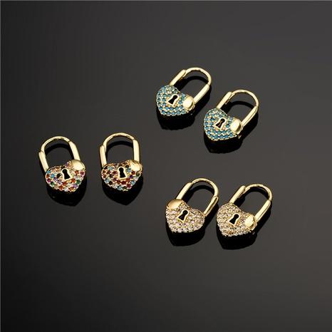 aretes de circonita con microincrustaciones de candado en forma de corazón de moda simple NHFMO342719's discount tags