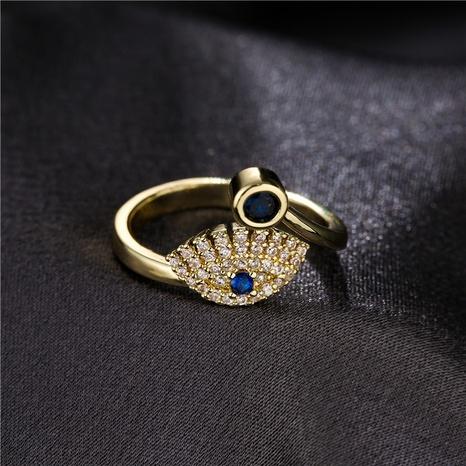 Mode blauen Edelstein Kupfer mikro-eingelegten Teufelsauge offenen Ring NHFMO342722's discount tags