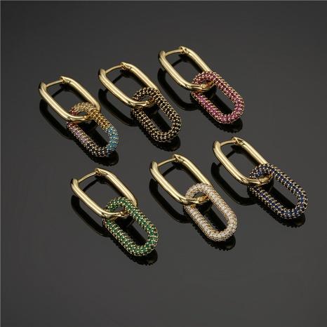 Pendientes de circonita de color con microincrustaciones de cobre puro con hebilla de doble anillo de moda NHFMO342730's discount tags