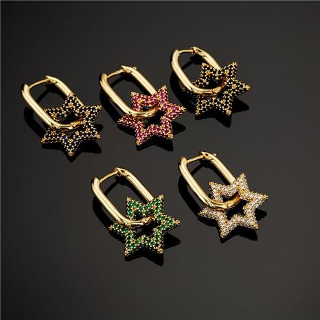 aretes creativos en forma de flor de estrella de seis puntas de moda NHFMO342734's discount tags
