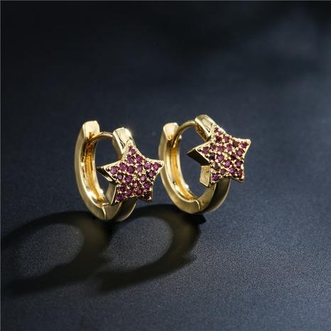 pendientes de estrella de cinco puntas con micro incrustaciones de cobre de moda NHFMO342735's discount tags