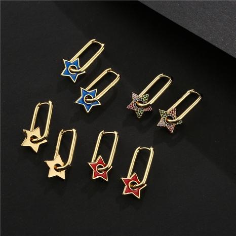nuevos pendientes de cobre de estrella de cinco puntas de moda NHFMO342762's discount tags