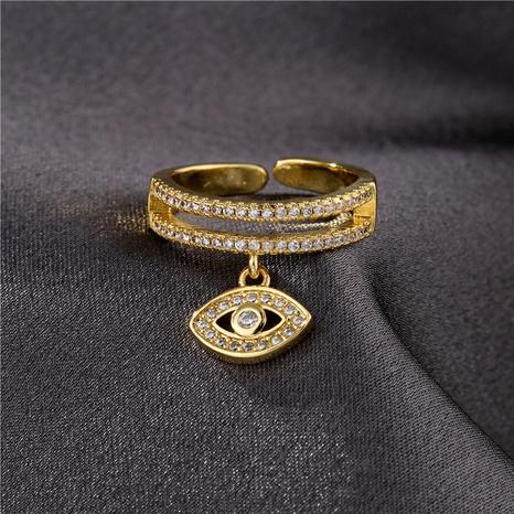 Mode Gold zweireihig Zirkon Teufel Auge Öffnung verstellbarer Ring NHFMO342770's discount tags