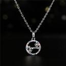 Fashion sunflower copper inlaid zircon necklace wholesale NHFMO342773