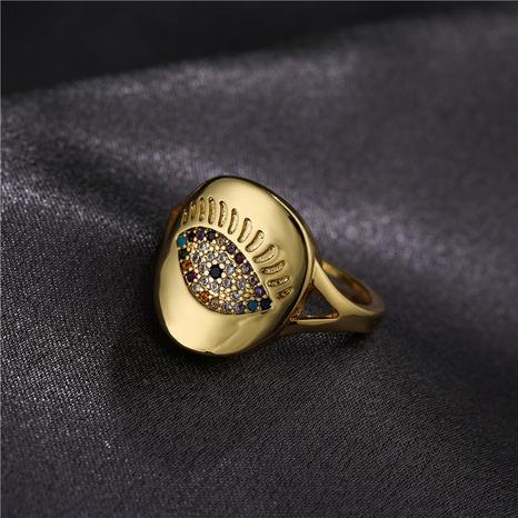 Großhandel Mode Kupfer mikro-eingelegte Farbe Zirkonium Teufel Augenring NHFMO342777's discount tags