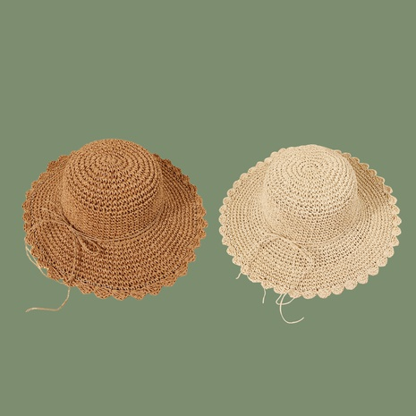 Summer beige lotus leaf sun shade hand hook straw hat NHAMD343052's discount tags