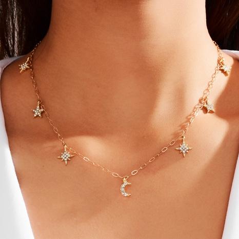 Nuevo collar de estrella y luna de estilo simple de moda NHOT343437's discount tags
