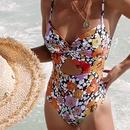 nouveau bikini creux sexy d39impression d39une seule pice de mode NHHL343216
