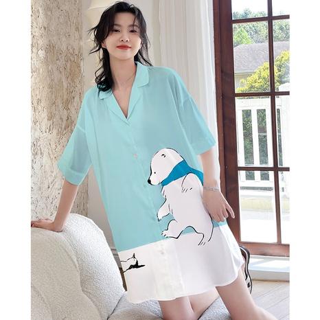 Pijamas de dibujos animados impresos con cuello en V de gasa de satén sexy a la moda NHJO343265's discount tags