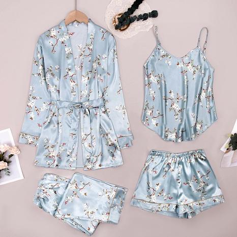 moda sexy nuevo pijama de seda de hielo de cuatro piezas NHJO343268's discount tags