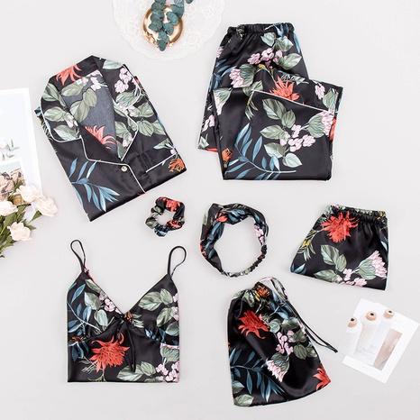 nueva moda sexy de siete piezas de seda de hielo de seda pijama de manga larga de varias piezas NHJO343269's discount tags