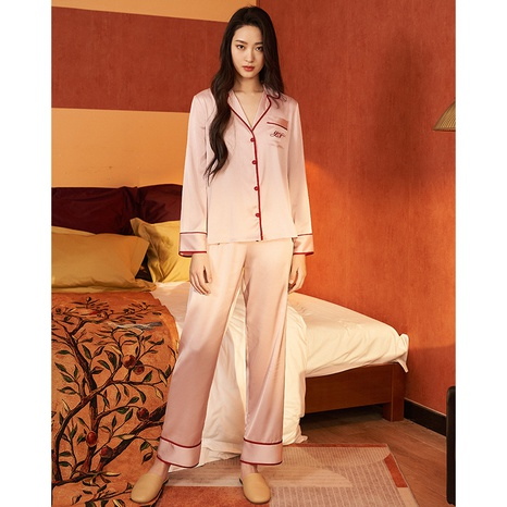 nuevo traje de pijama de manga larga de seda satinada de moda NHJO343282's discount tags